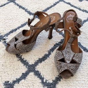 Jeffrey Campbell Grey Suede Crystal Hel Sandals